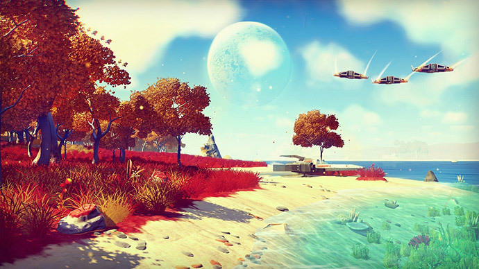 Beach on a planet in No Mans Sky